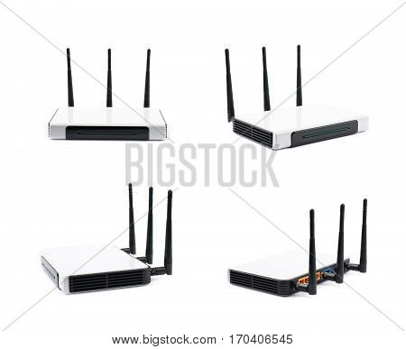 Generic Internet networking device router isolated over the white background, set of four different foreshortenings