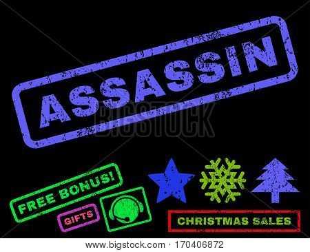 Assassin text rubber seal stamp watermark with additional bonus new year symbols. Tag inside rectangular banner with grunge design and unclean texture.