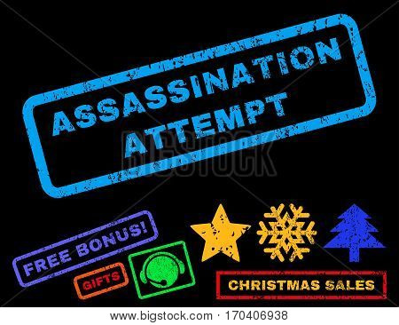 Assassination Attempt text rubber seal stamp watermark with additional bonus christmas symbols. Tag inside rectangular shape with grunge design and dirty texture.