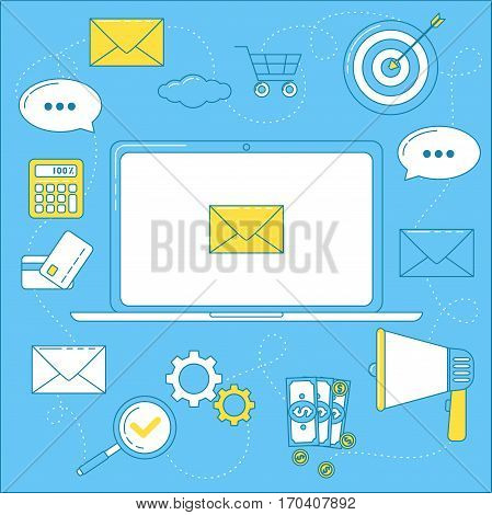 Email marketing illustration. Letters that bring sales promoting campaign