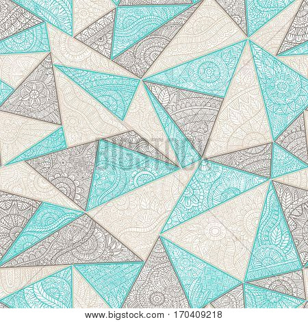 Seamless summer pattern patchwork. Zentangl with elements of flowers leaves geometric abstractions. Print for your textile. Blue gray and white colors. Vector illustration.
