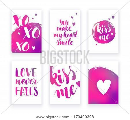Valentine's day cards with hand lettring and pink gradient details. Vector illustration.