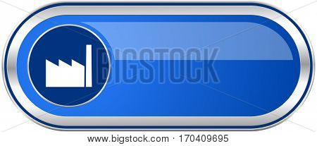 Factory long blue web and mobile apps banner isolated on white background.