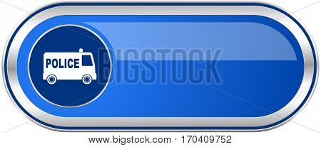 Police long blue web and mobile apps banner isolated on white background.
