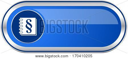 Law long blue web and mobile apps banner isolated on white background.