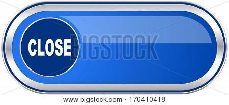 Close long blue web and mobile apps banner isolated on white background.