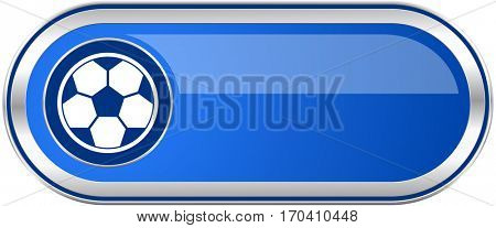 Soccer long blue web and mobile apps banner isolated on white background.
