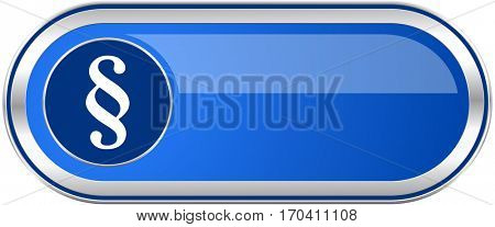 Paragraph long blue web and mobile apps banner isolated on white background.