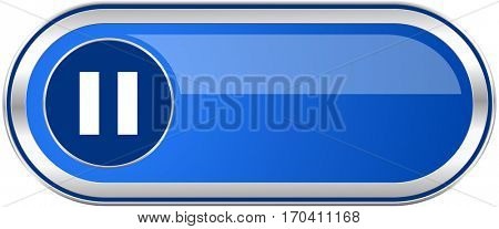 Pause long blue web and mobile apps banner isolated on white background.