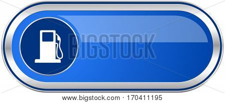 Petrol long blue web and mobile apps banner isolated on white background.