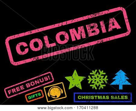 Colombia text rubber seal stamp watermark with bonus christmas symbols. Tag inside rectangular banner with grunge design and unclean texture.