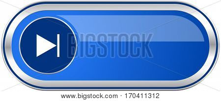 Next long blue web and mobile apps banner isolated on white background.