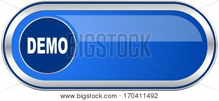 Demo long blue web and mobile apps banner isolated on white background.