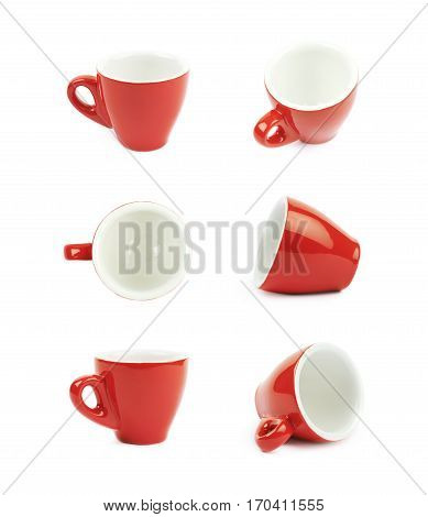 Tiny red espresso ceramic cup isolated over the white background, set of six different foreshortenings