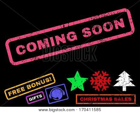 Coming Soon text rubber seal stamp watermark with bonus christmas symbols. Tag inside rectangular shape with grunge design and scratched texture.