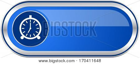 Alarm long blue web and mobile apps banner isolated on white background.