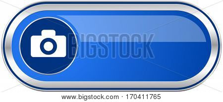 Camera long blue web and mobile apps banner isolated on white background.