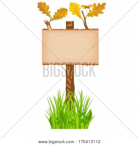 Oak wooden rectangular signboard with green leaves on a pole at the grass lawn vector illustration