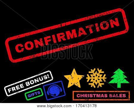 Confirmation text rubber seal stamp watermark with additional bonus christmas symbols. Tag inside rectangular shape with grunge design and scratched texture.