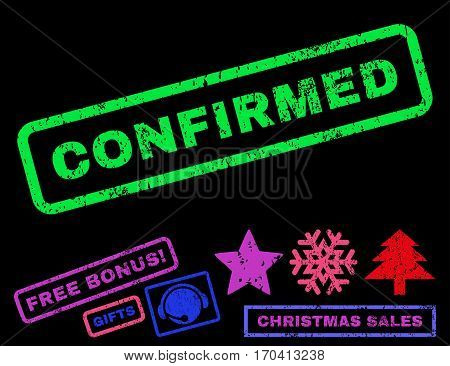 Confirmed text rubber seal stamp watermark with additional bonus new year symbols. Caption inside rectangular banner with grunge design and unclean texture.