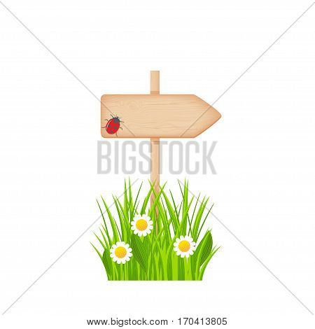 Wooden arrow signboard with knots and cracks on a pole at the grass lawn with flowers and ladybug vector illustration