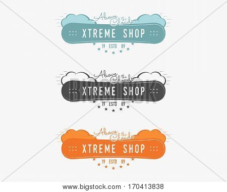 Set of Snowboarding extreme shop logo, label templates Winter snowboard sport store badge. Emblem and icon. Mountain adventure patches. Sports vintage color design. Vector.
