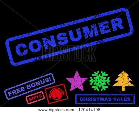 Consumer text rubber seal stamp watermark with bonus new year symbols. Tag inside rectangular shape with grunge design and scratched texture.