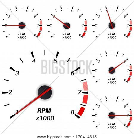 Tachometer. Vector illustration isolated on white background