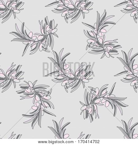 seamless pattern with olive branch in pastel color. Vector illustration for textile, fabric, wallpaper, packaging. Design for love, valentine day, international womens day, march 8