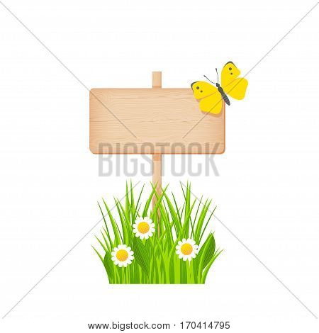 Wooden rectangular signboard with knots and cracks on a pole at the grass lawn with flowers and butterfly vector illustration