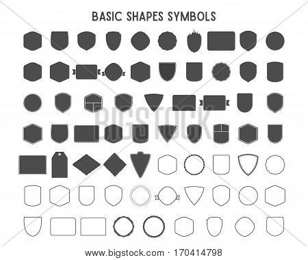 Set of vintage frames, shapes and forms for logo, labels, insignias with lines. Use for travel, camping or other emblems. Vector logotype sillhouette, lineart design.