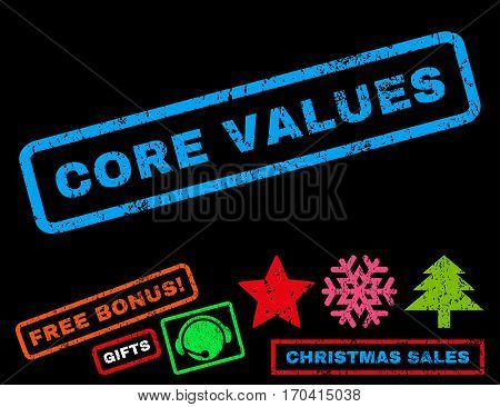 Core Values text rubber seal stamp watermark with additional bonus new year symbols. Caption inside rectangular shape with grunge design and unclean texture.