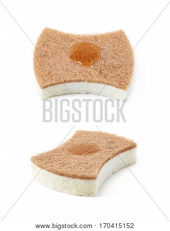 Artificial fiber kitchen sponge with a drop of a dishwashing liquid isolated over the white background, set of two different foreshortenings