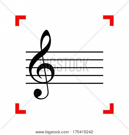 Music violin clef sign. G-clef. Black icon in focus corners on white background. Isolated.