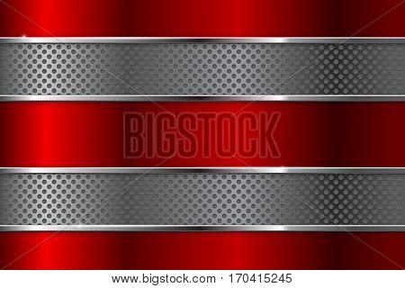 Metal background with red elements and perforation. Vector illustration