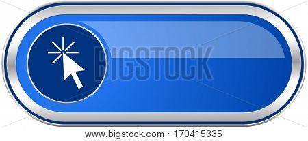 Click here long blue web and mobile apps banner isolated on white background.