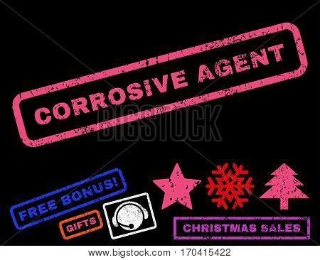 Corrosive Agent text rubber seal stamp watermark with additional bonus new year symbols. Caption inside rectangular shape with grunge design and dirty texture.