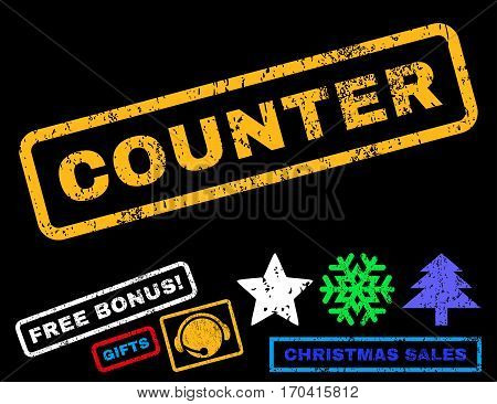 Counter text rubber seal stamp watermark with bonus new year symbols. Caption inside rectangular shape with grunge design and unclean texture.