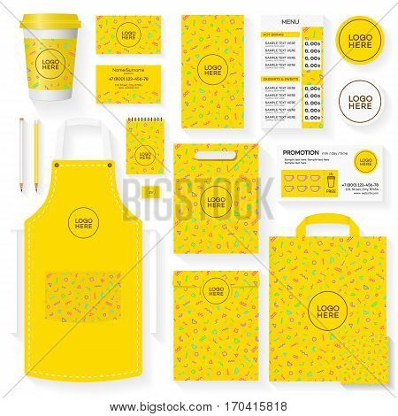 Coffee house corporate identity template set with yellow memphis geometric pattern and place for your logo. Restaurant cafe set card, flyer, menu, package, uniform design set. Vector Illustration