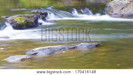 Wilson Creek in North Carolina long exposure with water running over rocks