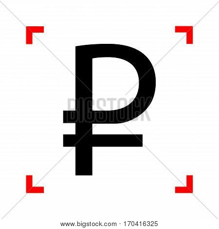 Ruble sign. Black icon in focus corners on white background. Isolated.