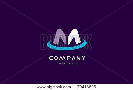 m cyan magenta blue letter alphabet vector company logo icon sign design template