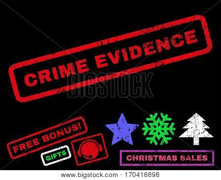 Crime Evidence text rubber seal stamp watermark with additional bonus new year symbols. Tag inside rectangular banner with grunge design and scratched texture.