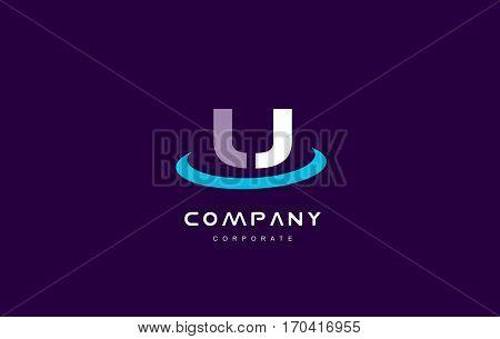 u cyan magenta blue letter alphabet vector company logo icon sign design template