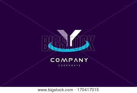 y cyan magenta blue letter alphabet vector company logo icon sign design template