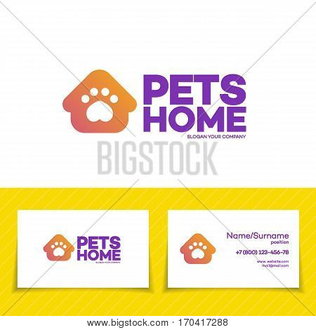 Pets home logo set for used for corporate identity pets shop, store, animals veterinary clinic and homeless animals shelters. Vector Illustration