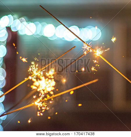 festive abstract sparklers lit up for celebration