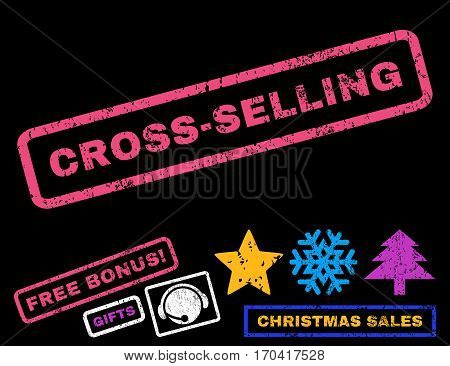 Cross-Selling text rubber seal stamp watermark with bonus christmas symbols. Tag inside rectangular shape with grunge design and dirty texture.