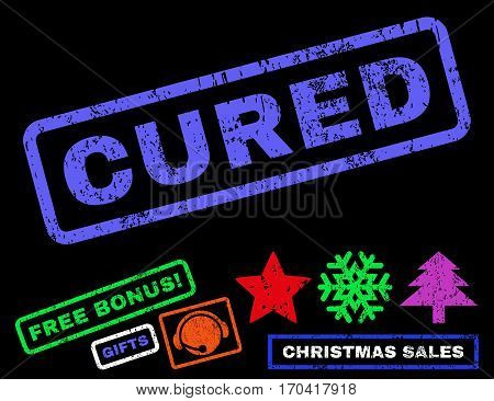 Cured text rubber seal stamp watermark with additional bonus christmas symbols. Caption inside rectangular banner with grunge design and scratched texture.