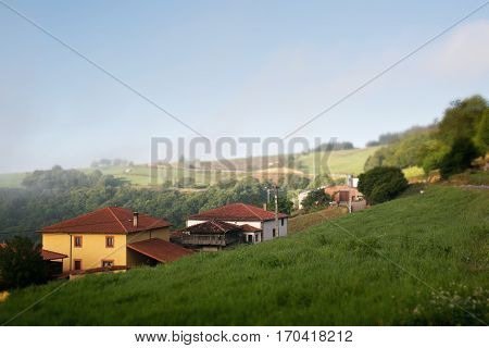 Little european village somewhere on Camino De Santiago hiking path - one of the most famous christianity piligrimages